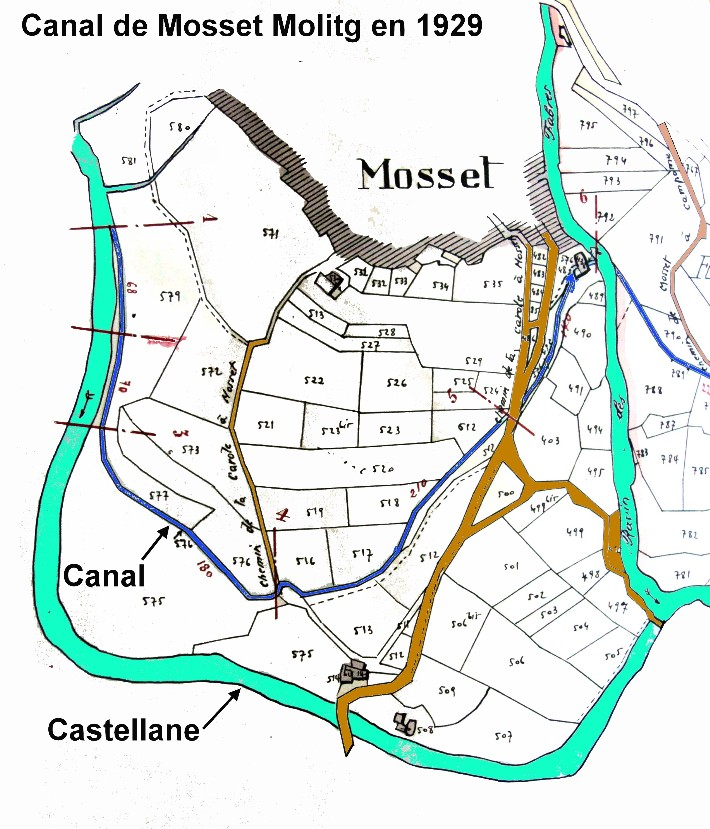 Plan 1929 Canal  sous Mosset